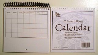 6x6 blank spiral 12 month calendar kit brand new what a unique idea