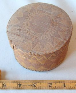 RARE DECORATED BIRCH BARK BOX EASTERN NATIVE AMERICAN WOODLANDS EARLY