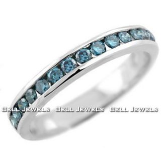 50ct Fancy Blue Diamond Wedding Ring Band 14k White Gold Channel Set