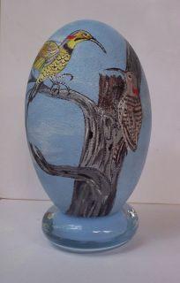 Hand Painted Treetop Flicker Birds on Light Blue Emu Egg Stand