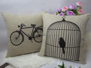 Cotton Linen Black Bird Cage Decorative Pillow Cover Cushion Case 18