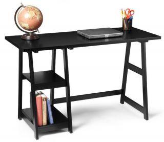 Trestle Modern Black Computer Home Office Desk Table