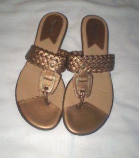 Bjorndal Bronze Higgins 214179 Thong Braided Flat Sandals Shoes 8 5 8