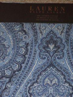 Lauren Light Dark Blue Navy White PAISLEY Shower Curtain NEW Fabric
