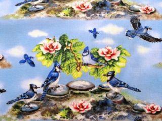 New Blue Birds Fabric BTY Sky Animal Song Wild
