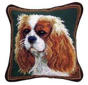 New Blenheim Cavalier King Charles Spaniel Dog Needlepoint Pillow