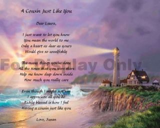 Gift for Cousin Personalized Poem Birthday or Christmas Gift Idea