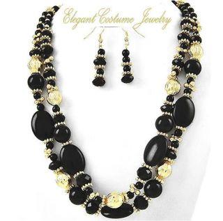 Jet Black Gold Necklace Set 2 row Beaded 16 19 Chunky Costume Jewelry