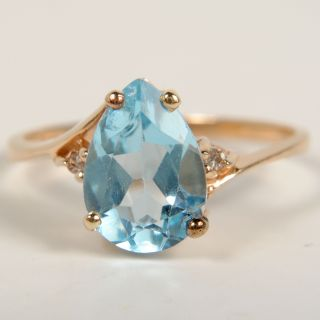 Ladies Pear Shaped Blue Topaz Diamond 10K Yellow Gold Ring Size 6 25 1