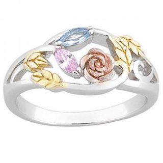 COUPLES TRI COLOR STERLING SILVER MARQUISE BIRTHSTONE RING