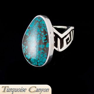 Navajo Native American Bisbee Mine Turquoise Ring Size 6 1 2 SKU