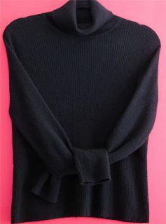 Daniel Bishop Black 100 Cashmere Ribbed Turtleneck Sweater Womens L M