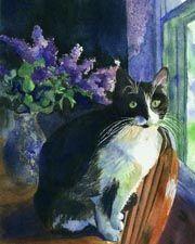 Print Watercolor Painting Tuxedo Black Cat Art Micky