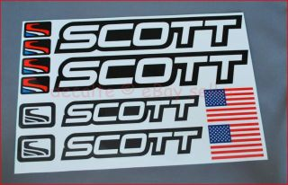 SCOTT Black Mountain Bike Cycle Bicycle Frame Decals Stickers Set MTB