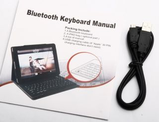 Purple Bluetooth Wireless Keyboard with Leather Case Stand Cover iPad