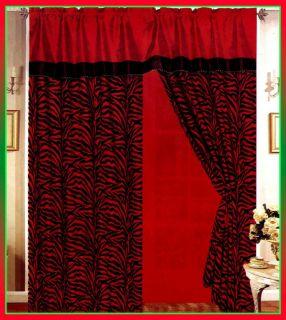 Black Red Zebra Stripe Satin Window Curtain Drape Set Sheer Liner