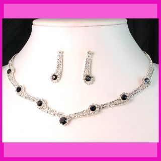 Party Bridal Bridesmaids Black Diamante Crystals Necklace Earrings Set