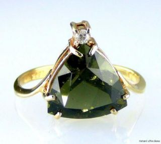 Natural Genuine Trillion MOLDAVITE Diamond Ring 14k Gold 3 00cts