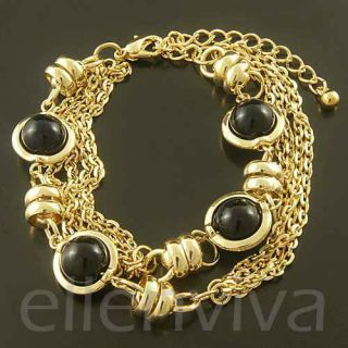 Beads Multi Chain Bracelet Jewelry Black and Gold Tone BT163GD