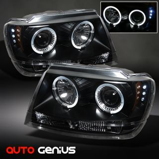 99 04 Grand Cherokee Black Halo Projector Headlights w LED Front Lamps