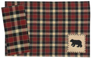 Park Designs Concord Black Bear Placemats Napkins Choice of Sets Cabin