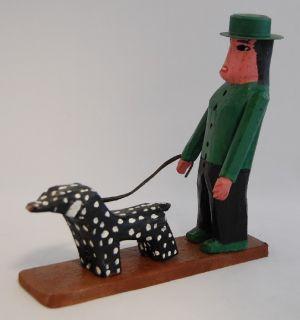 Bluteau Quebec Folk Art Primitive Carving Dog Walking
