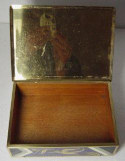 Art Deco Bauhaus Enamelled Brass Trinket Box with Abstract Exotic Bird