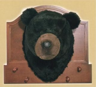Faux Black Bear Trophy Head Coat Hat Rack Rustic Animal
