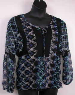 Daniel Rainn Sheer Peasant Blouse Cami Tank Top Set 1x Lace Black Blue