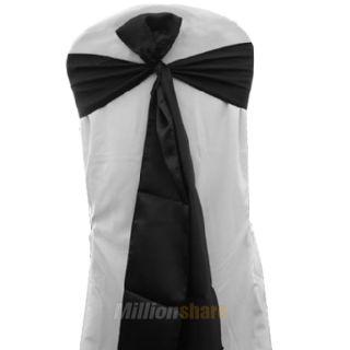 plum wedding party banquet satin chair cover sash bow 7 x107 black us