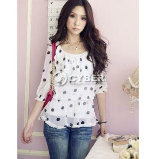 Lady Polka Dot Lotus Shirt Bloues 3 4Sleeve Blouses Fashionnew