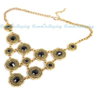 Round Circle Flower Black Acrylic Beads Pendant Chain Necklace