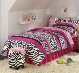 Zebra Animal Print Safari Black White Pink Bed in A Bag Set
