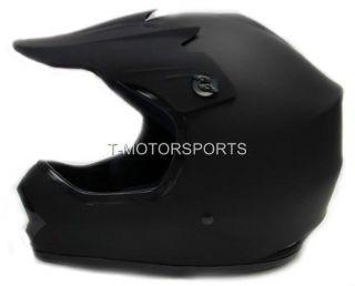 Youth Kids Flat Matte Black Dirt Bike ATV Motocross Off Road MX Helmet