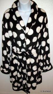 Cabernet Polka Dots Black White Short Robe Medium