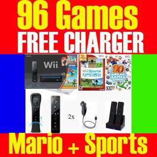 BLACK Wii CONSOLE SYSTEM 2 PLAYERS 96 GAMES SUPER MARIO + WII SPORTS