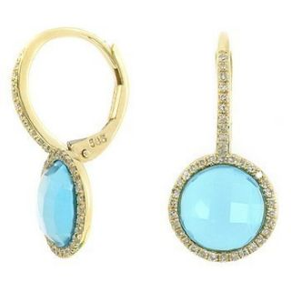 Fine Checkerboard Sky Blue Topaz Diamond Dangle Drop Earrings 14k
