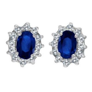 Oval Blue Sapphire Diamond Earrings 14k White Gold