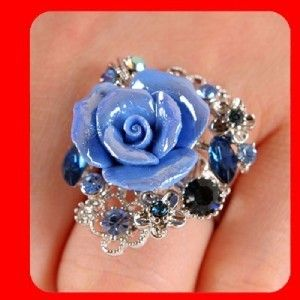 New Rose Swarovski Blue Crystals Flower Ring Size Free