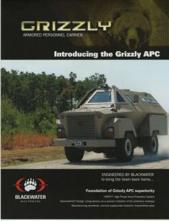 BLACKWATER GRIZZLY ARMORED PERSONNEL CARRIER MILITARY BROCHURE