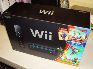 Wii System Black Console (NTSC) with 2 remotes, Super Mario Wii, More