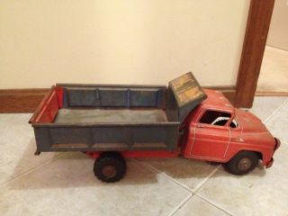 TONKA Mound Minnesota DUMP TRUCK Two Tone Pressed Steel Blue Red