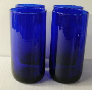 Cobalt Blue Glass Drinking Glasses Water Tea Milk