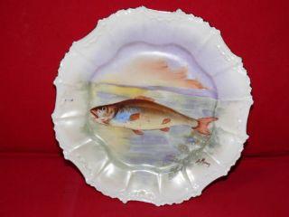 1890 Limoge Blakeman Henderson Fish Art Signed Plate