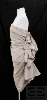Lanvin Collection Blanche Taupe Silk & Cotton Pleated Strapless Dress