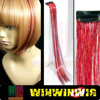 Bling Hair Tinsel Red Sparkle Colors Clip in 15 Hair Extensions
