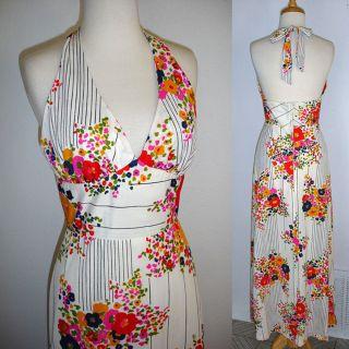 1960s vintage mod floral halter maxi dress   retro hippie boho   xs or