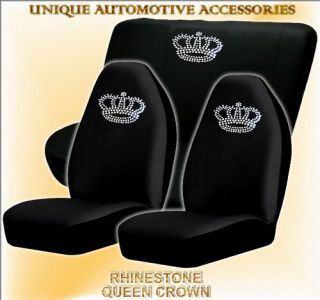 4pc rhinestone queen crown seat covers bench cover