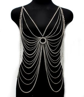 New Body Armor Full Front Chain Sexy Belly Hip Swimsuit Jewelry Silver