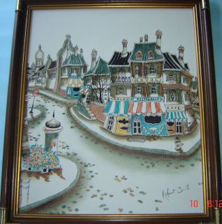 Robert Scott Vintage Antique Street Scene Oil Painting Artistic Int